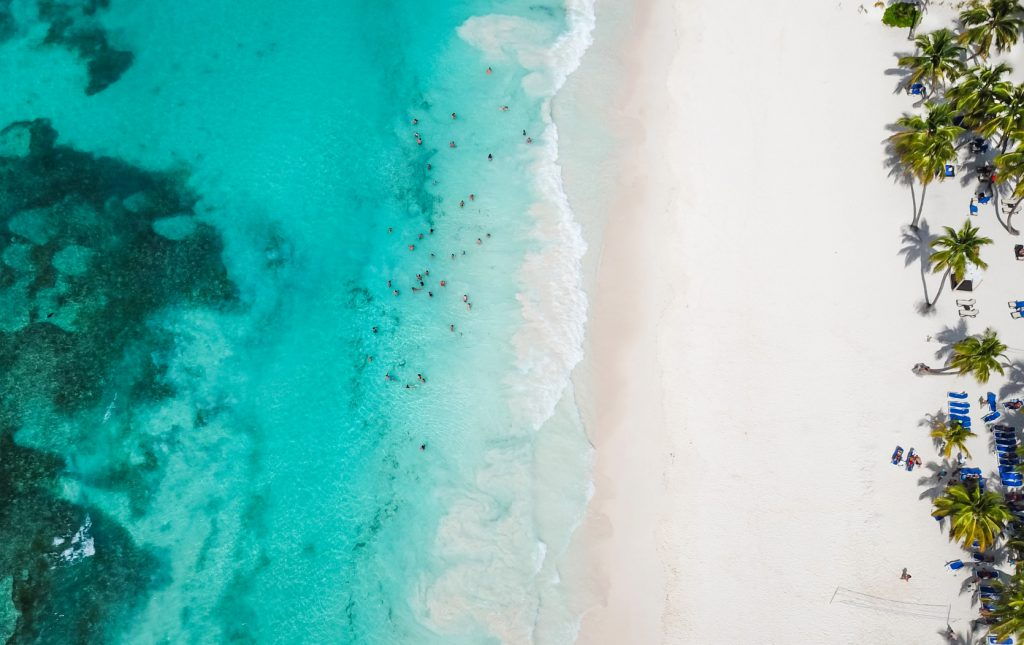A birds eye view of the Cancun ocean line