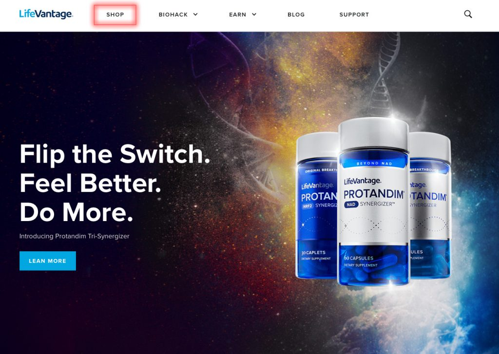 LifeVantage home page with Shop link outlined