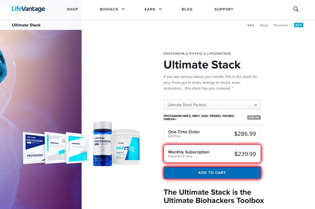 Ultimate Stack product page with Monthly Subscription and Add to Cart buttons highlighted