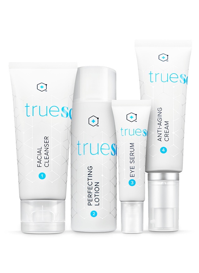 lineup of true science beauty system bottles