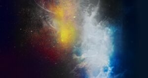 Yellow and Blue Nebula with DNA Strand