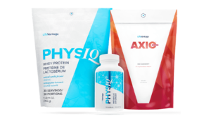 PhysiQ Protein Bag, Metabolic Enhancer bottle, and AXIO bag